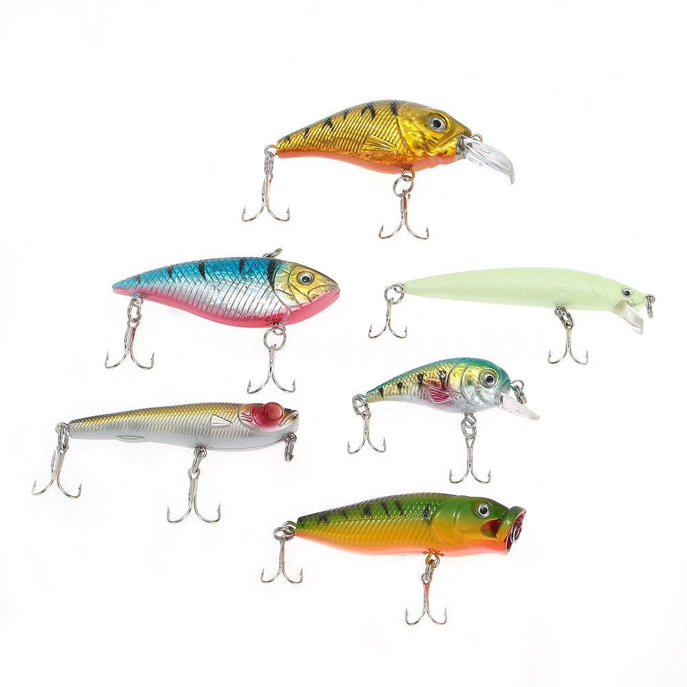 Fishing lure set hard soft baits minnow spinner spoon jig for Hard and soft fishing